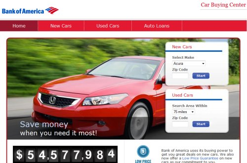 Bank of America Car Buying Center screenshot
