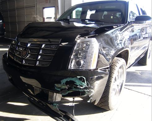 Tiger Woods' wrecked Cadillac Escalade